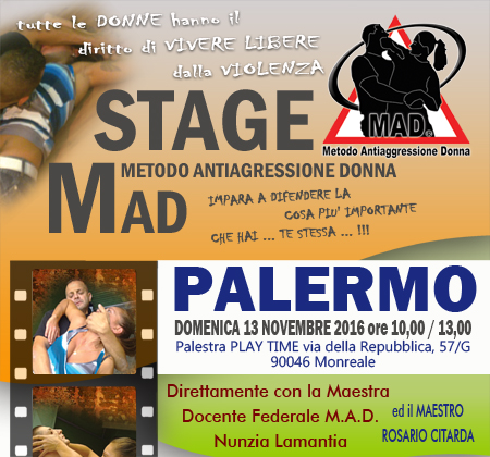 Stage M.A.D. Metodo Antiaggres. Donna a PALERMO